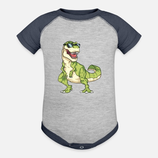Sunglasses Baby Clothing - Cool T-rex Dinasour - junglecontest - Baseball Baby Bodysuit heather gray/navy