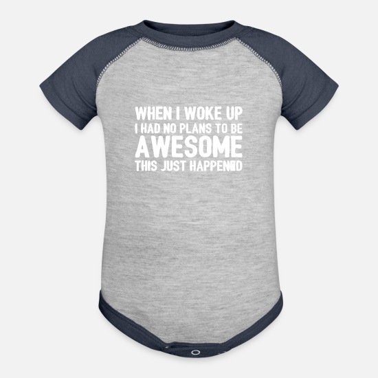 What Baby Clothing - This Just Happened - Contrast Baby Bodysuit heather gray/navy