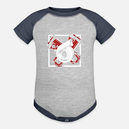 Electrical Engineering Baby Clothing - Turbocharger Single turbo Gift Ideas T-Shirt - Baseball Baby Bodysuit heather gray/navy