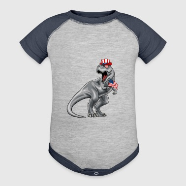 African American Dinosaur 4th Of July American Flag - Baby Contrast One Piece