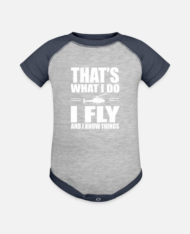 Pilot Baby One Pieces - Helicopter - Baseball Baby Bodysuit heather gray/navy