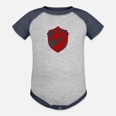 Red Dragon Red/grey dragon - Contrast Baby Bodysuit
