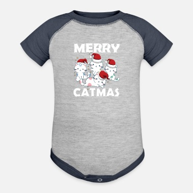 Merry Merry catmas and merry christmas - Contrast Baby Bodysuit