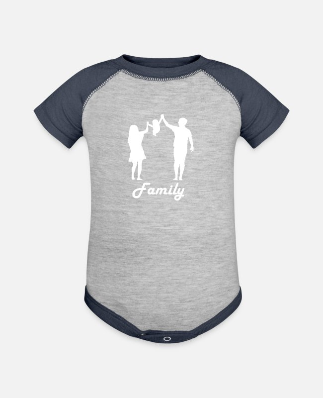 Patience Baby One Pieces - Family love - Baseball Baby Bodysuit heather gray/navy