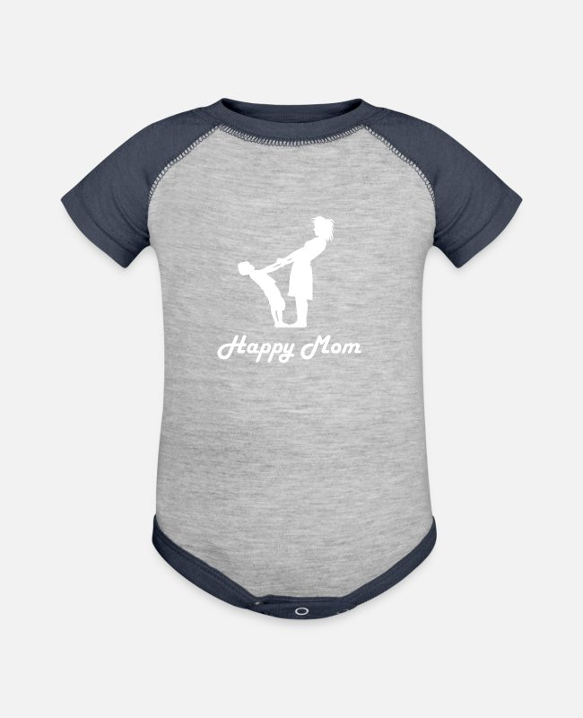 Mum And Son Baby One Pieces - Mum - Baseball Baby Bodysuit heather gray/navy