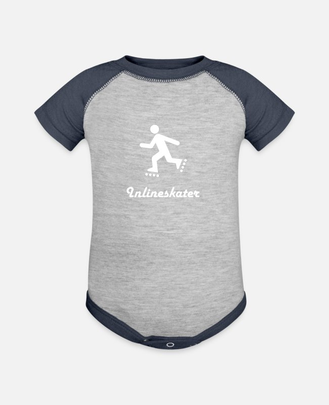 Wheel Baby One Pieces - Inlineskaters - Baseball Baby Bodysuit heather gray/navy