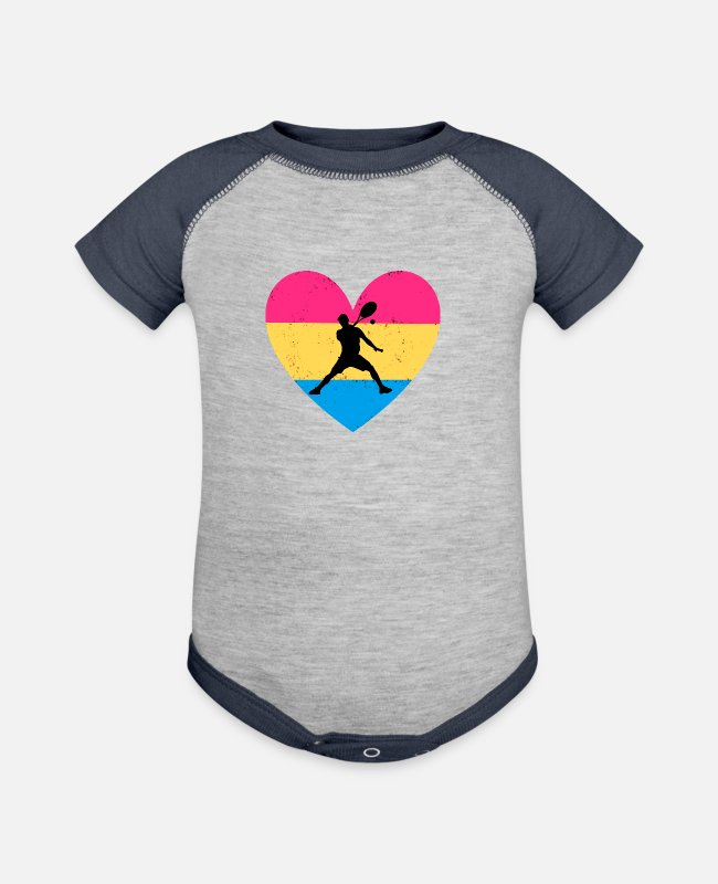 Ball Baby One Pieces - Tennis with colored heart - Baseball Baby Bodysuit heather gray/navy