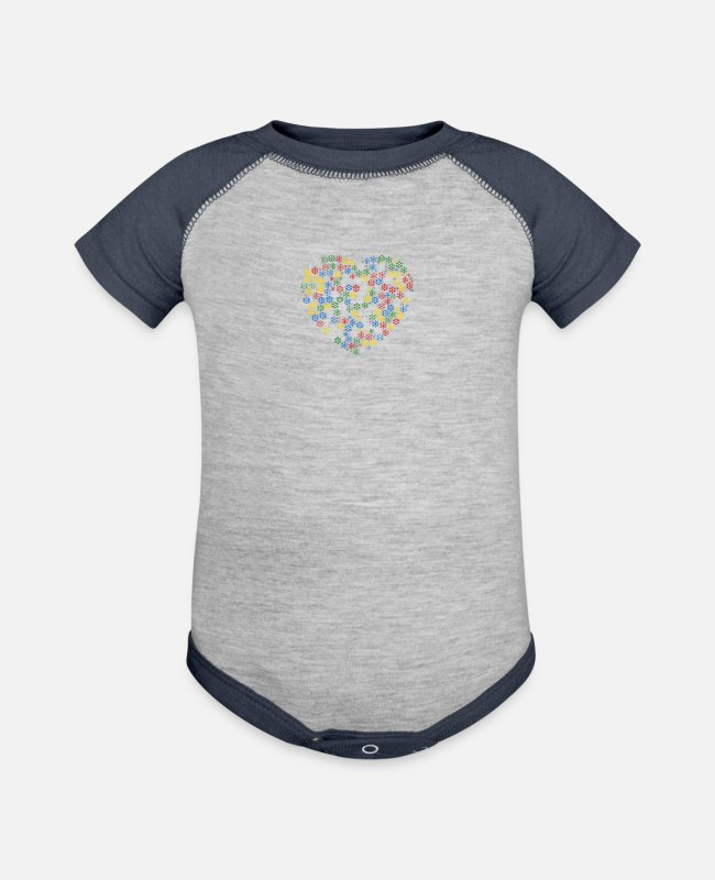 Heart Baby One Pieces - Snow Wordcloud of a heart form (christmass) - Baseball Baby Bodysuit heather gray/navy