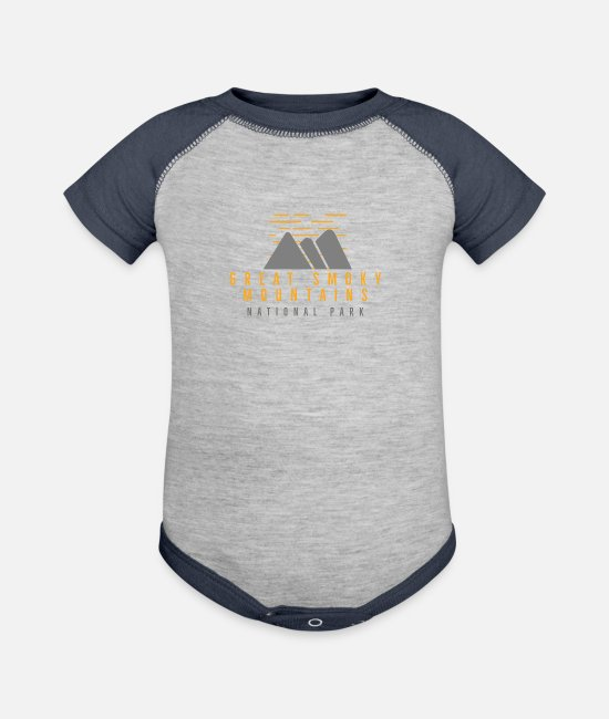 Great Baby One Pieces - Great Smoky Mountains National Park - Baseball Baby Bodysuit heather gray/navy