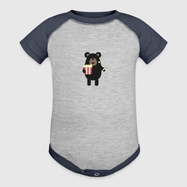 Black bear eating Popcorn S0sfd - Baby Contrast One Piece