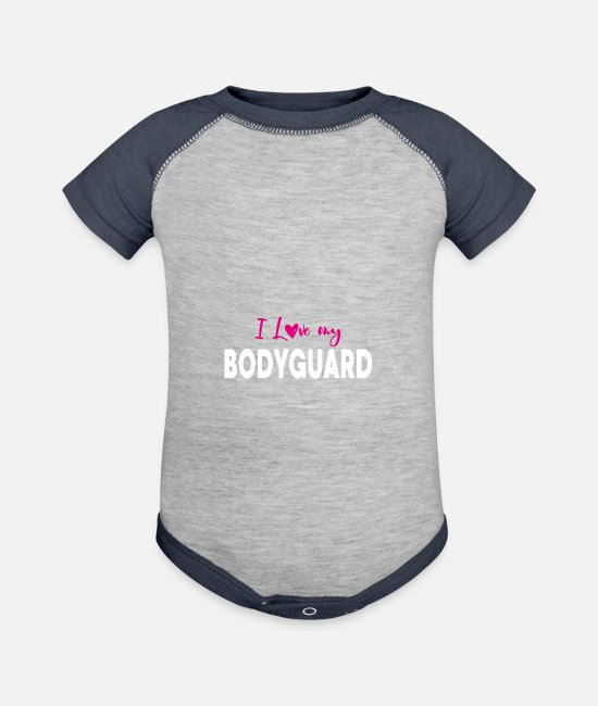 Father And Son Baby One Pieces - I love my bodyguard brother saying gift - Baseball Baby Bodysuit heather gray/navy