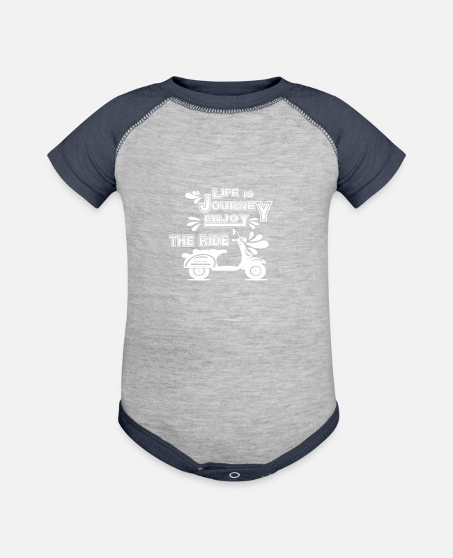 Pilot Baby One Pieces - Life is a journey enjoy the ride - Baseball Baby Bodysuit heather gray/navy