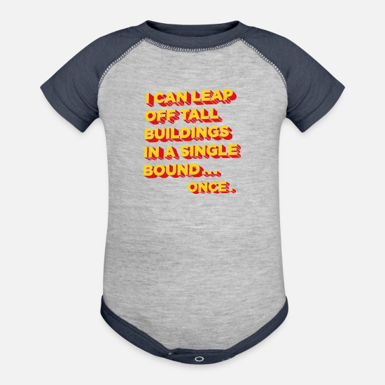 Geek Baby Clothing - Tall Buildings In A Single Bound - Baseball Baby Bodysuit heather gray/navy