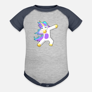 Unicorn Dabbing Dab dancing colorful pony fairy - Contrast Baby Bodysuit