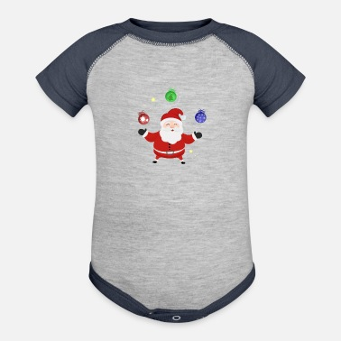 Bauble Santa with baubles - Baseball Baby Bodysuit