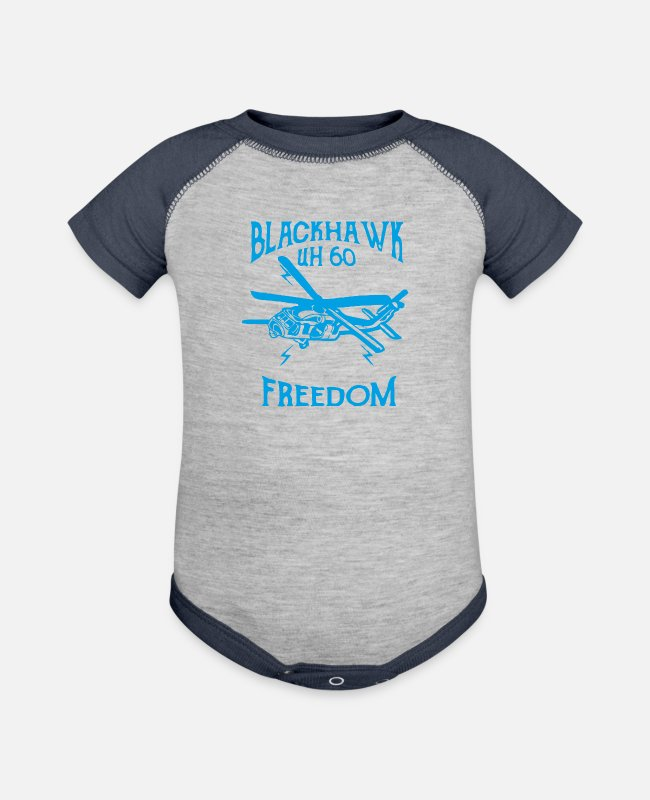 Black Metal Baby One Pieces - Black Hawk - Baseball Baby Bodysuit heather gray/navy