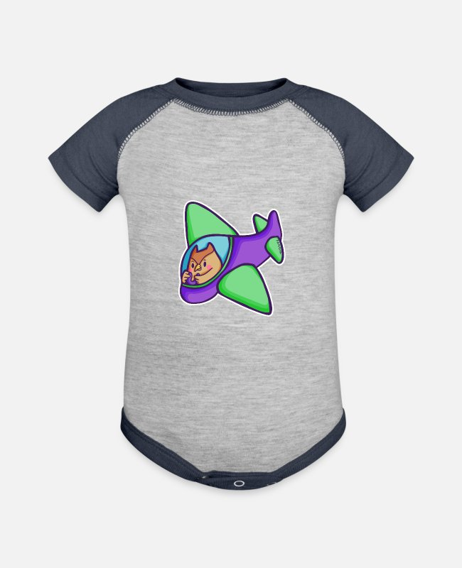 Pilot Baby One Pieces - Owl bird pilot aircraft rotor children gift - Baseball Baby Bodysuit heather gray/navy