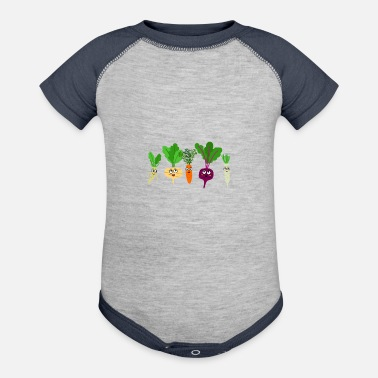 Carrot Radish Red Cabbage Celery Carrot Funny Vegetables - Baseball Baby Bodysuit