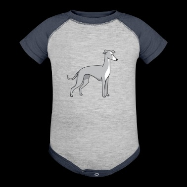 dog - greyhound - Baby Contrast One Piece