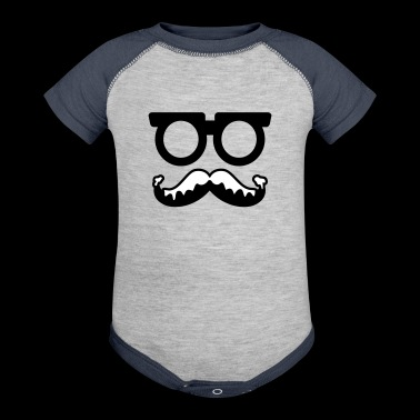 moustache - glasses - santa - Baby Contrast One Piece