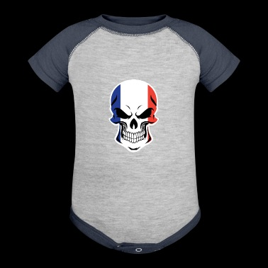French Flag Skull - Baby Contrast One Piece