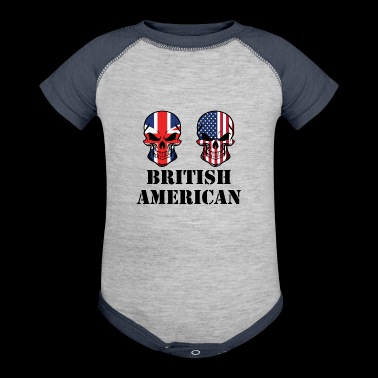 British American Flag Skulls - Baby Contrast One Piece