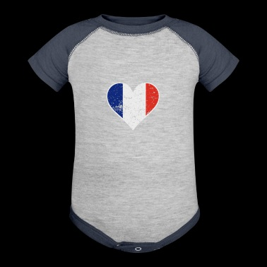 Distressed French Flag Heart - Baby Contrast One Piece
