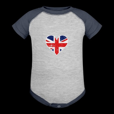 Distressed British Flag Heart - Baby Contrast One Piece