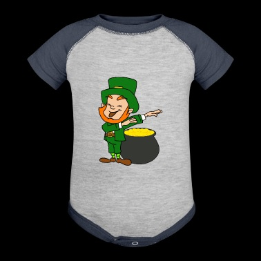 Dabbing Leprechaun St Patricks Day Pot Of Gold - Baby Contrast One Piece