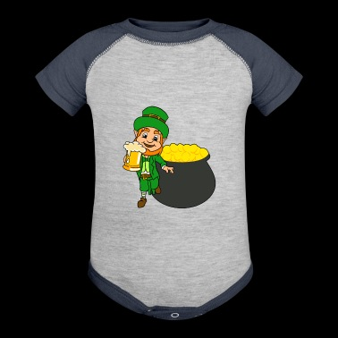 Leprechaun With Beer And Pot Of Gold St Patricks - Baby Contrast One Piece