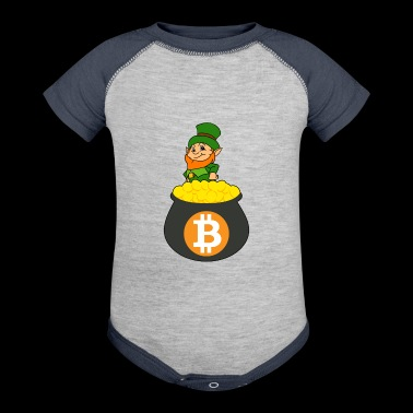 Leprechaun Bitcoin Pot Of Gold St Patricks Day - Baby Contrast One Piece