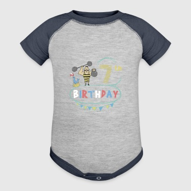 Circus Theme Strongman 7th Birthday - Baby Contrast One Piece