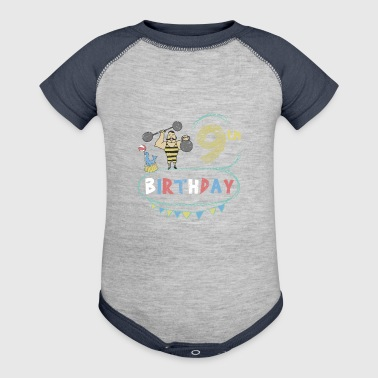 Circus Theme Strongman 9th Birthday - Baby Contrast One Piece
