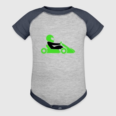 A Racer With Helmet And Car - Baby Contrast One Piece
