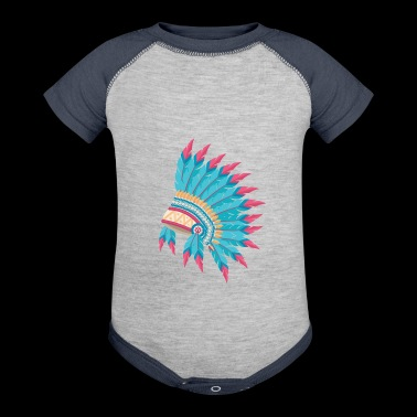 Native American Indian Chief Feather Headdress - Baby Contrast One Piece