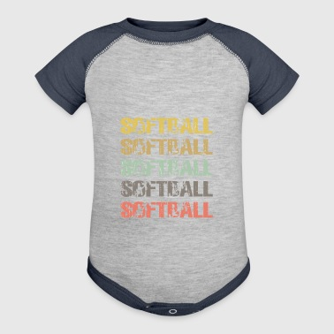 Vintage softball , softball Gift Men - Baby Contrast One Piece