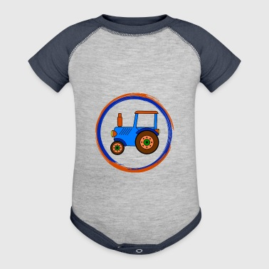 blue toy tractor / toy tractor - Baby Contrast One Piece