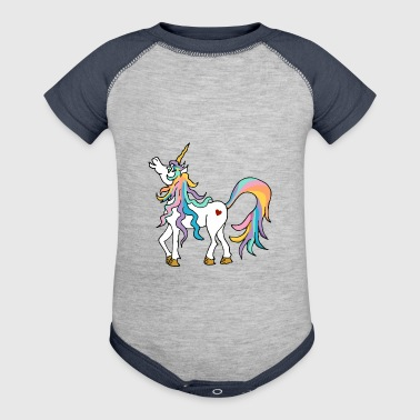 Colourful unicorn with rainbow coloured tail - Baby Contrast One Piece