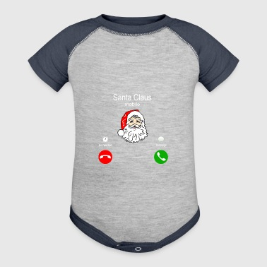 Santa Claus mobile phone - Baby Contrast One Piece