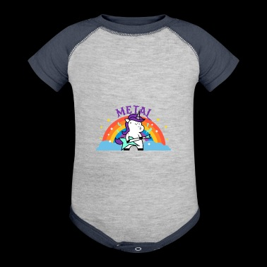 METAL RAINBOW BAND FUNNY UNICORN IRONIC - Baby Contrast One Piece