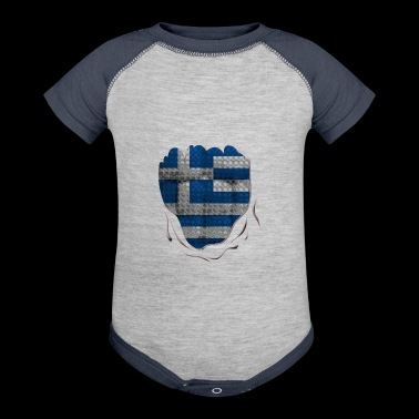 Funny Greece Flag Ripped Abs Muscles - Baby Contrast One Piece