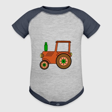 brown toy tractor / toy tractor - Baby Contrast One Piece