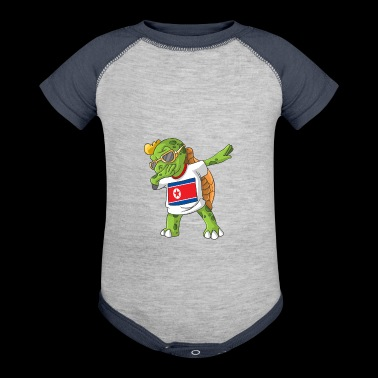 North Korea Dabbing Turtle - Baby Contrast One Piece