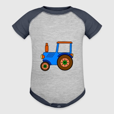 toy tractor / blue toy tractor - Baby Contrast One Piece