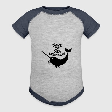 Save the Sea Unicorns, Narwhals of the Sea - Baby Contrast One Piece