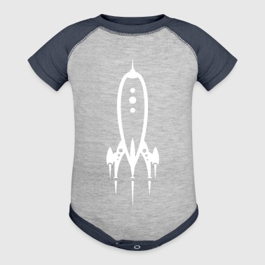Rocket Ship White - Baby Contrast One Piece