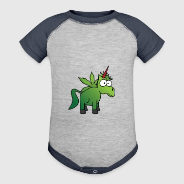 weed ganja horse unicorn - Baby Contrast One Piece