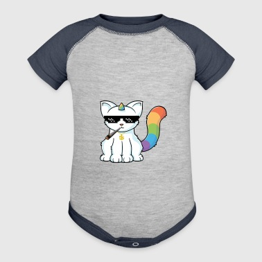 weed smoking unicorn cat - Baby Contrast One Piece