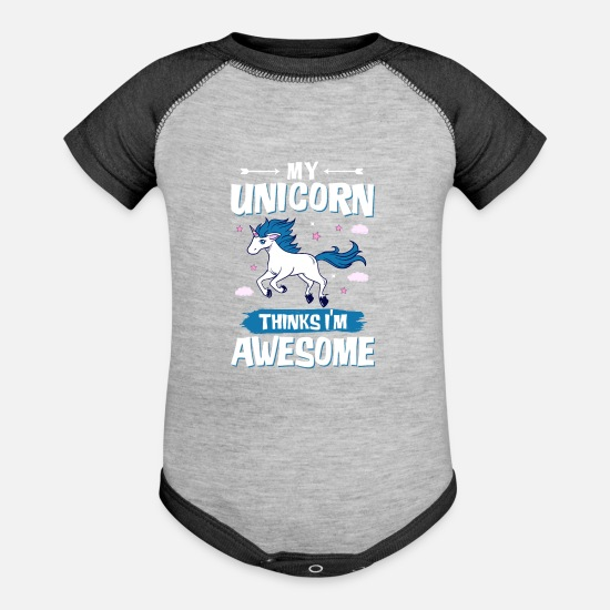 Girls Baby Clothing - My Unicorn - Baseball Baby Bodysuit heather gray/charcoal