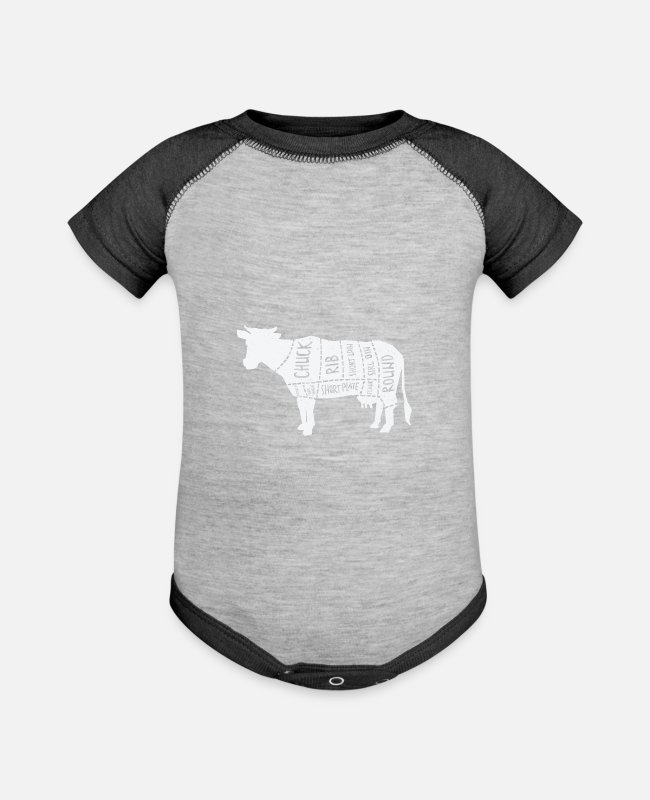 Christmas Baby One Pieces - Cattle breeder - bovine divided into meat parts - Baseball Baby Bodysuit heather gray/charcoal